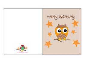 happy birthday card to print free printable owl birthday cards