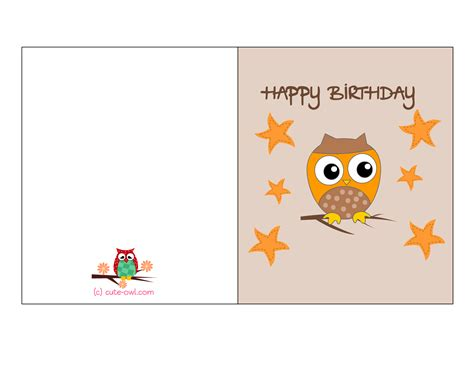 printable cards free printable owl birthday cards