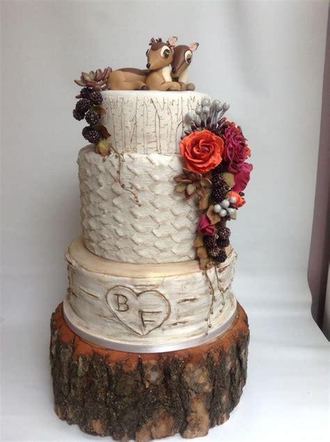 autumn fall woodland birch tree wedding cake deer cake topper www