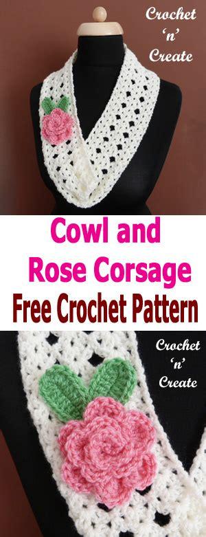 collared cowl free crochet pattern crochet n create crochet cowl rose corsage free crochet pattern crochet