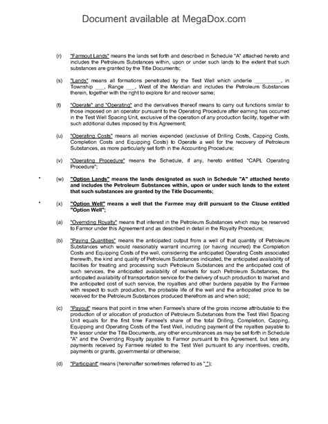 participation agreement template alberta farmout and participation agreement forms