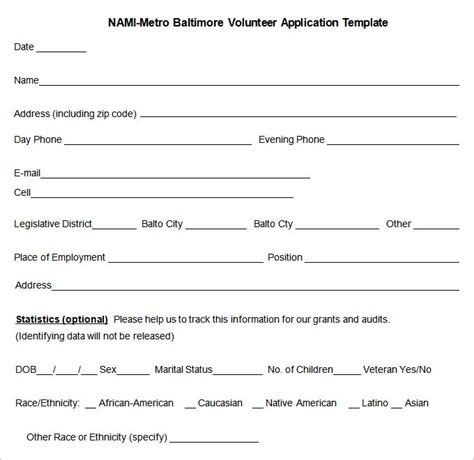 10 Volunteer Application Template Word Pdf Free Premium Templates Volunteer Application Form Template