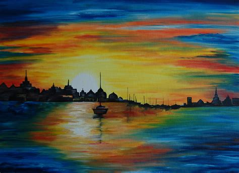 best painting sunrise 24 x 18 horizontal oil painting on canvas board