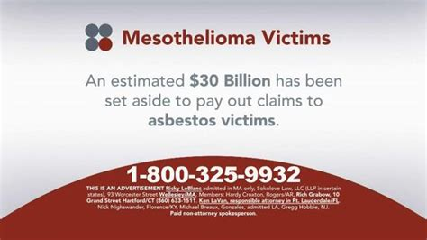 Compensation Mesothelioma 1 by Sokolove Tv Commercial Mesothelioma Victims And