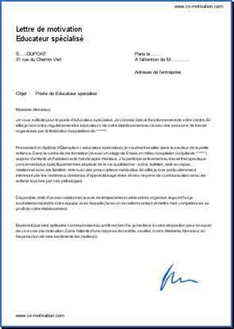 Lettre De Motivation Ecole Educateur Modele Lettre De Motivation Educateur Specialise Document