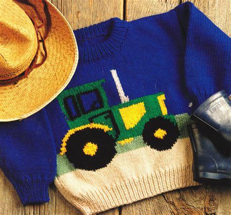 knitting pattern tractor jumper tractor farm sweater baby children knitting pattern aran