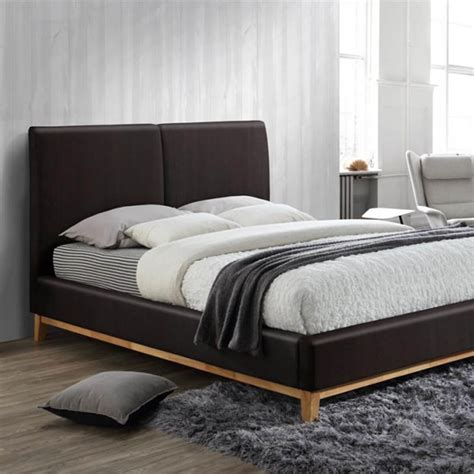brown faux leather bed frame kemi brown faux leather bed frame light oak modern