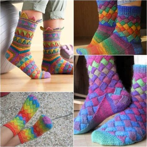 socks knitted rainbow entrelac socks free pattern easy tutorial