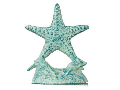 Blue Starfish Decor by Rustic Cast Iron White And Blue Starfish Doorstop 10 Quot