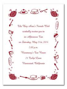 afternoon tea invitation template free