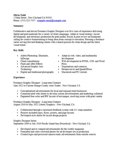 Resume Sle Graphic Artist 28 Graphic Design Freelance Resume How Do You List Freelance Work On Your Resume We Freelance