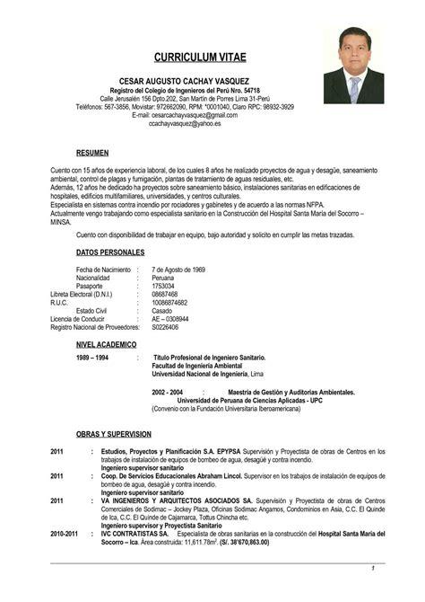 Cv Exle Francais by Calam 233 O Curriculum Vitae C 233 Sar Cachay