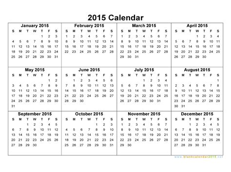 one page 2015 calendar template 8 best images of 2015 year calendar printable one page