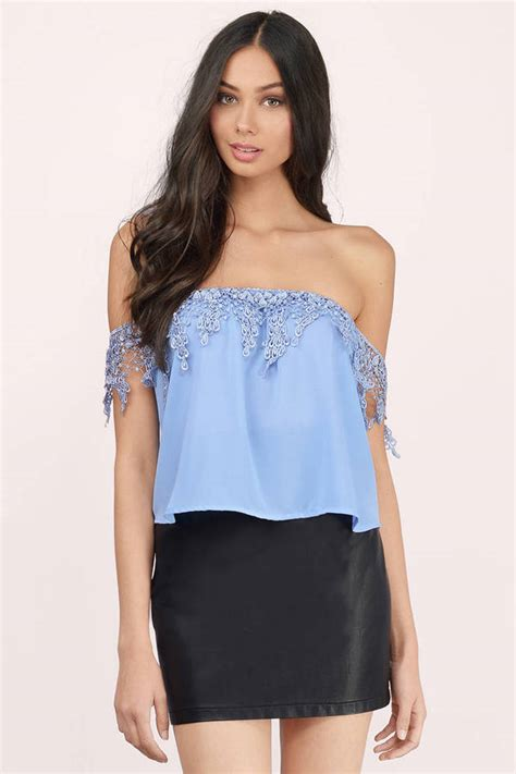 best blue cute light blue crop top blue top off shoulder top