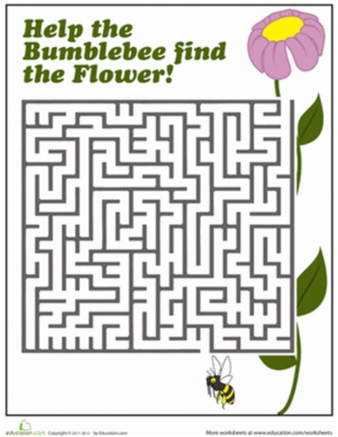 printable mazes first grade bumblebee maze worksheet education com