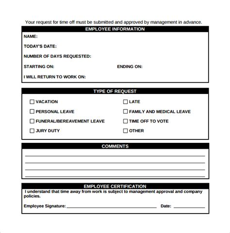 employee request form template sle time request form 23 free documents