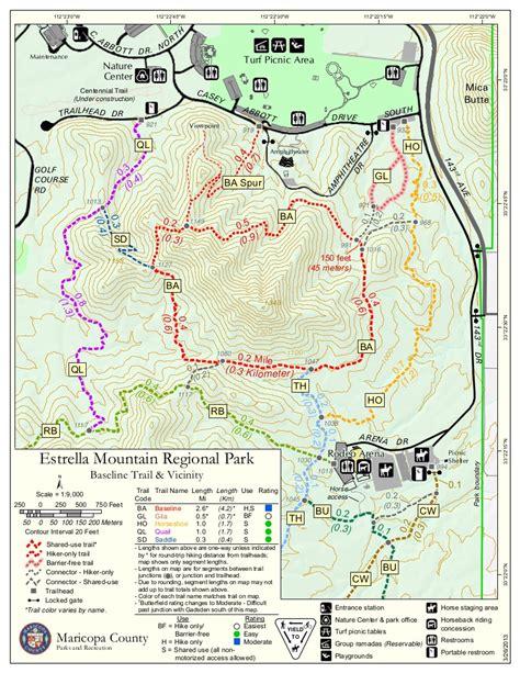 arizona hiking trail maps baseline trail estrella mtn rp hiking arizona