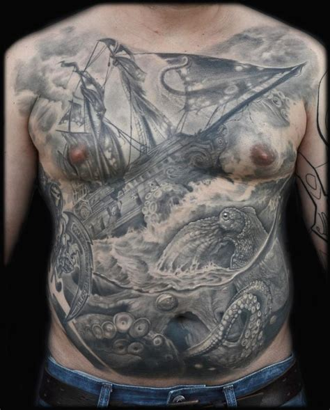 black and grey kraken tattoo epic ship and octopus kraken chest tattoo by maximilian