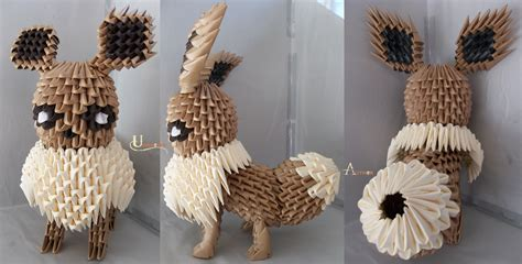 Origami Eevee - 3d origami eevee by jobe3do on deviantart