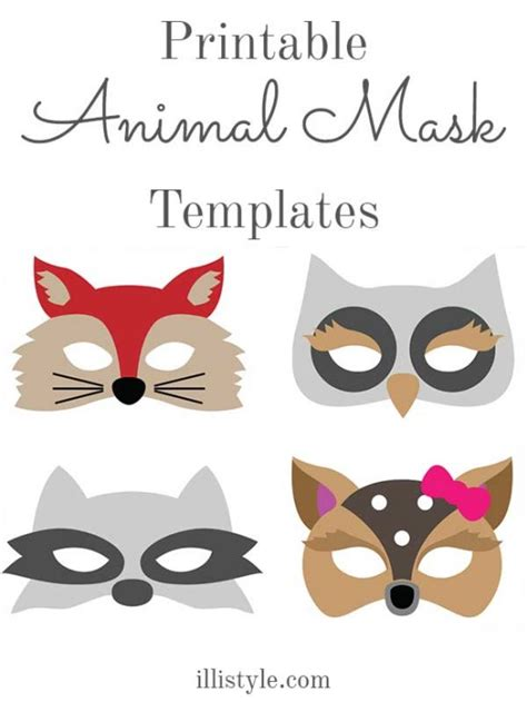 printable animal eye masks felt animal mask printable templates animal mask