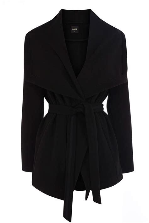 drape coat oasis short drape coat in black lyst
