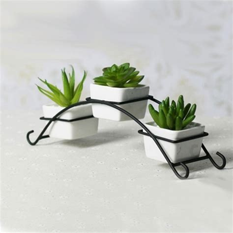 iron stand with ceramic flower pots planters desktop
