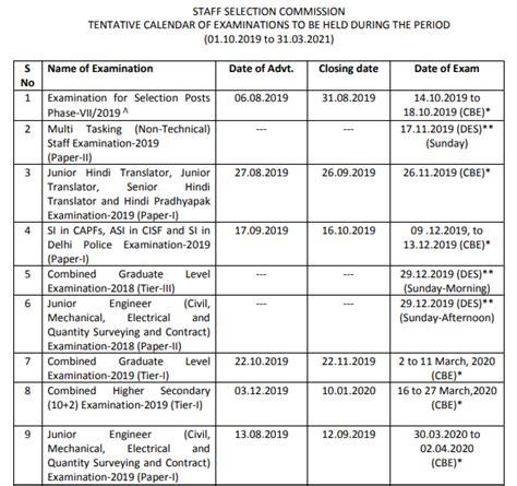 upcoming ssc exam    ssc exam calendar released  ssc je cgl cpo chsl gd exams