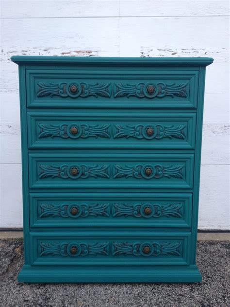 meuble pin 3716 teal painted highboy dresser by loved furniture