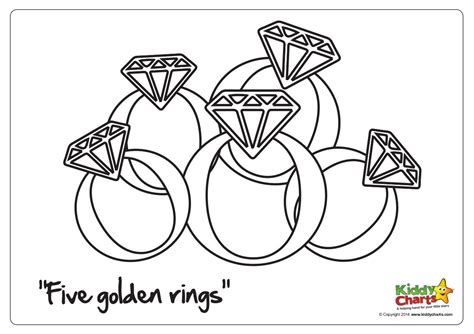On The 5th Day Of Christmas Five Golden Rings 12 Days Of Coloring Page