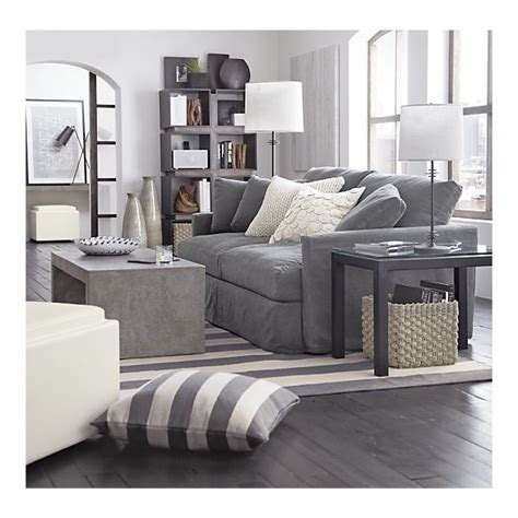 gray and ivory living room living room lounge slipcovered sofa coffee table olin rug i crate and barrel living
