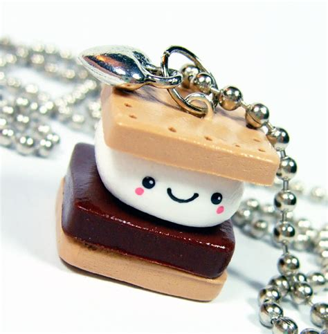 Handmade Polymer Clay Charms - polymer clay charm kawaii happy smores necklace