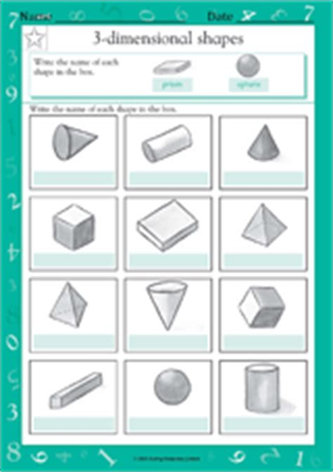 Three Dimensional Shapes Worksheets For Grade by Naming 3 Dimensional Shapes Iii Math Practice Worksheet