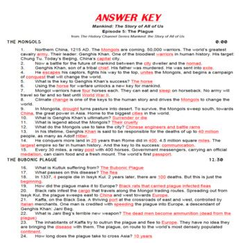 Mankind The Story Of All Of Us Worksheet Answers by Mankind The Story Of All Of Us Episode 5 Plague Fill In