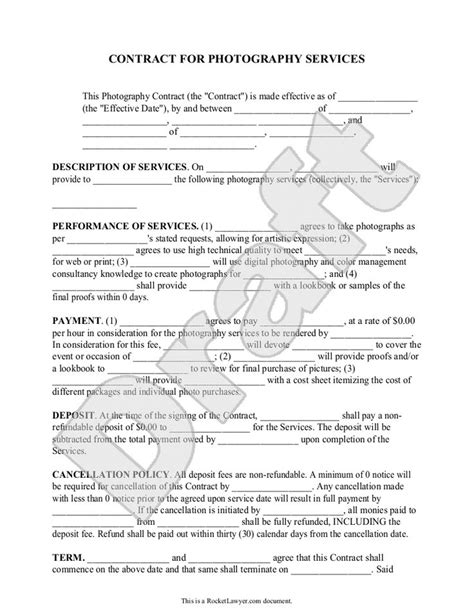 Sle Letter Of Agreement Photography Best 25 Photography Contract Ideas On Free Photographs Photograph And
