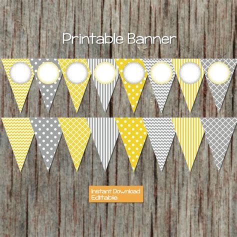 printable yellow banner yellow grey printable editable party banner instant