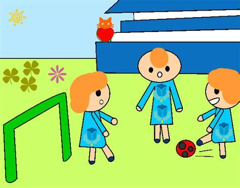 dibujos de niños jugando futball dibujo de ni 241 os jugando a futbol pintado y coloreado por