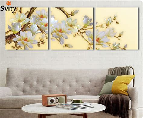 home decor wall painting flower canvas painting cuadros aliexpress com buy 3 panel modern 3d white orchid flower