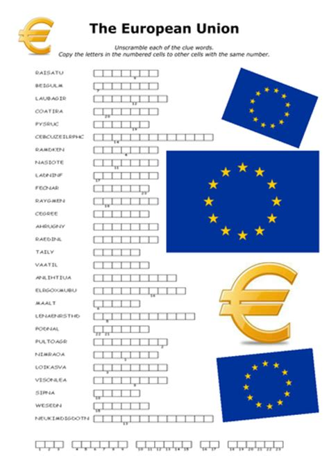 printable word search europe the european union word scramble puzzle by lesley1264