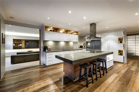 House Kitchen Breakfast Bar Kitchen Island Wooden Floor House In