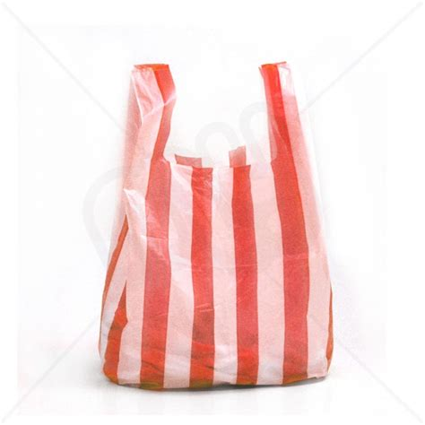 Carrier Bags by Striped Plastic Carrier Bag 10x15x18 14 Micron
