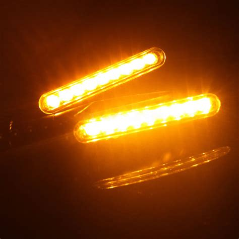 4x Motorcycle Turn Signal Indicators 12 Led Amber Blinker 12v Lights