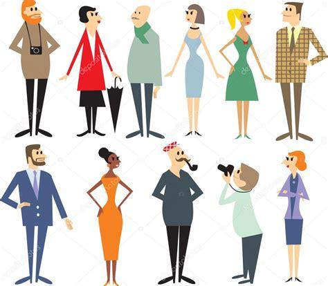 imagenes varias personas caricaturas varias personas en estilo retro vector de