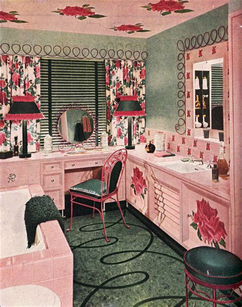 1940s Home Decor Style by 1948 Armstrong Bathroom Pink Green Mid Century Style