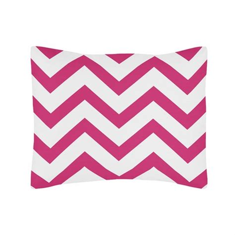 Daffa Standar Zig Zag standard pillow sham for pink and white chevron zig zag bedding by sweet jojo designs only
