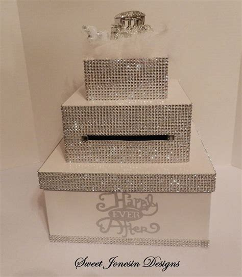 Bridal Shower Gift Card Box - white cinderella bling wedding card box diamond mesh ribbon fairytale wedding sweet 16