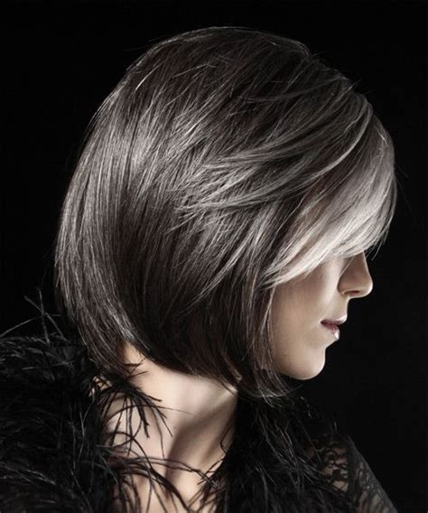 pictures of dark brown hair with gray highlights dark bobs and grey on pinterest