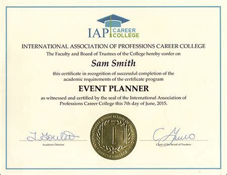 Printed Programs Event Planner Certificate Course Online