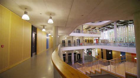 interior view  hallway  modern college building