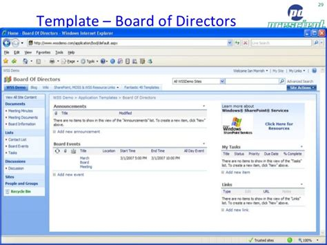 Sharepoint Board Of Directors Template Sharepoint Moss 2007 Pros Cons By Toby Ward Prescient Digital Media