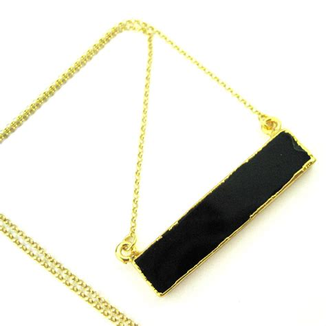 Bar Pendant Necklace black agate bar pendant necklace horizontal bar and